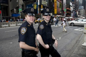 new york police with badges on uniforms